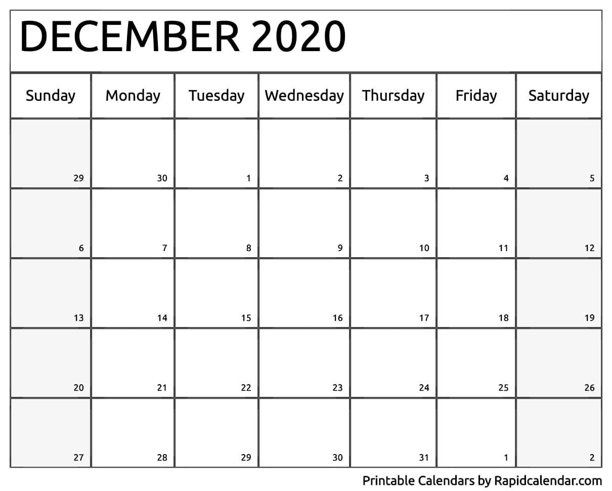 December 2020 Calendar Printable - Rapid Calendar