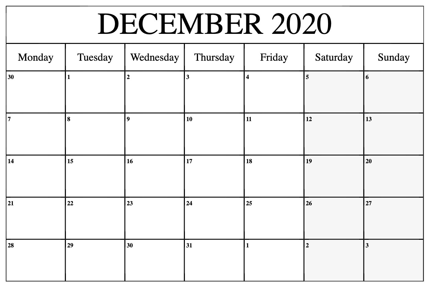 December 2020 Calendar Printable Template With Holidays