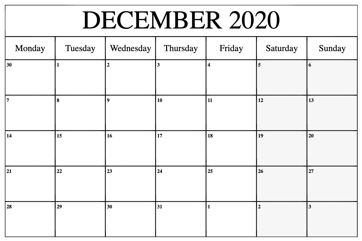 December 2020 Calendar Template Word, Pdf, Excel Format