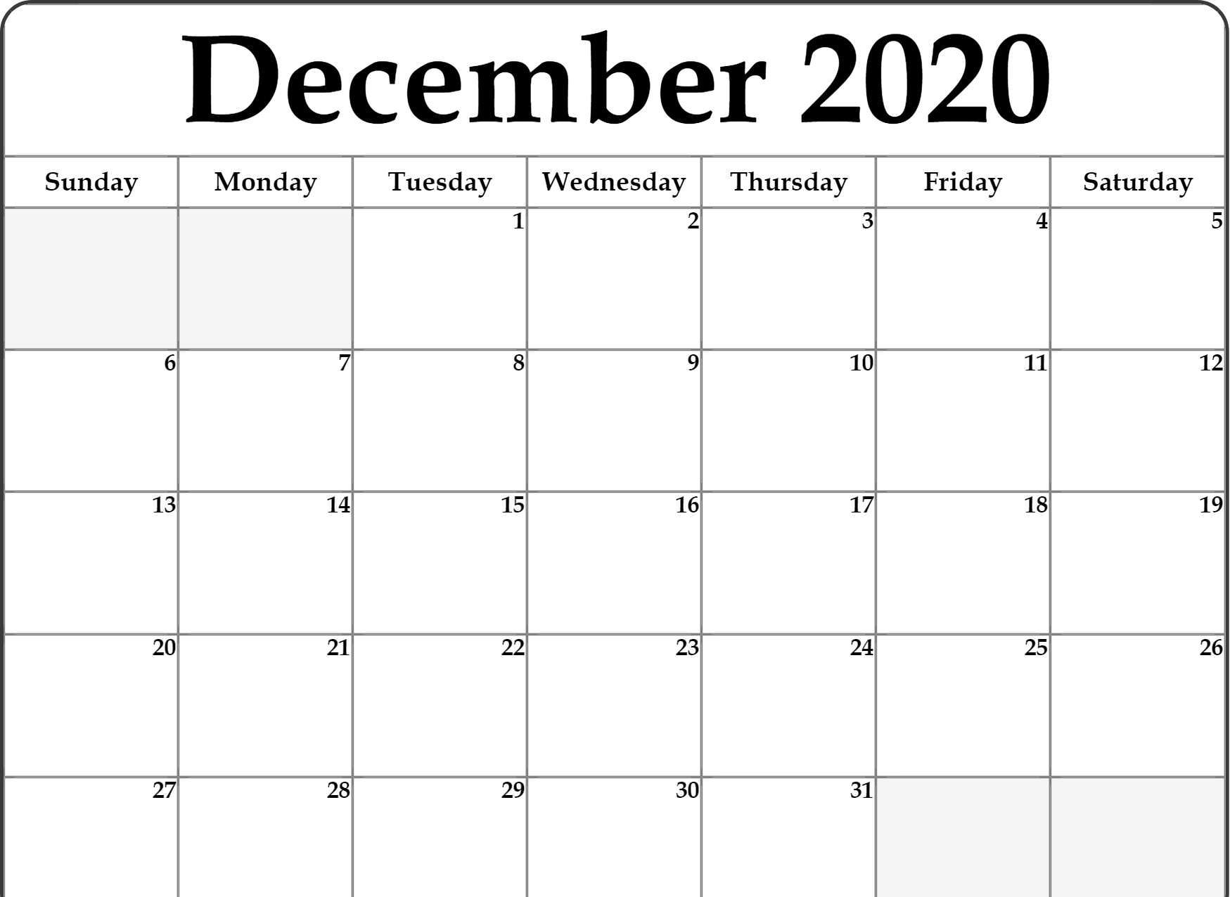 December 2020 Calendar Template Word, Pdf, Excel Format