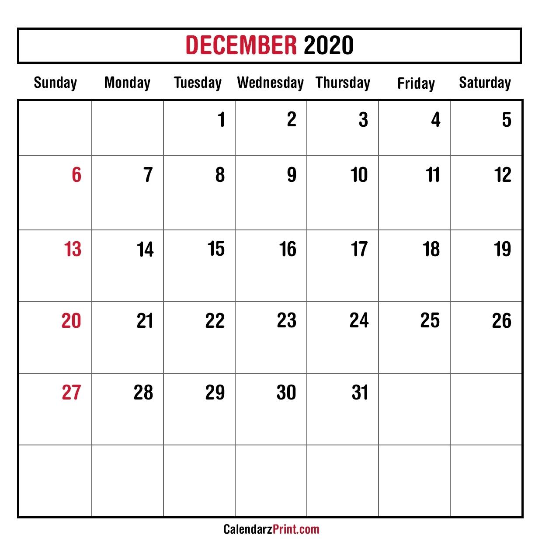 December 2020 Monthly Planner Calendar – Printable Free