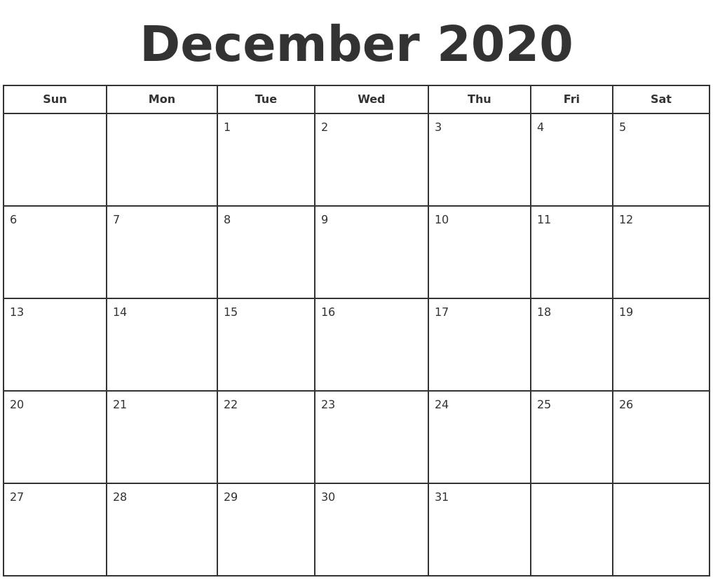December 2020 Print A Calendar