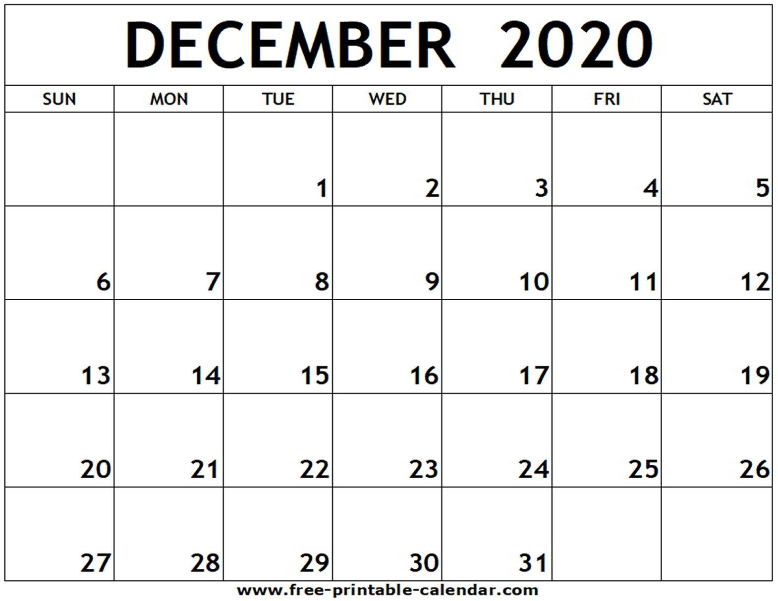 December 2020 Printable Calendar - Free-Printable-Calendar