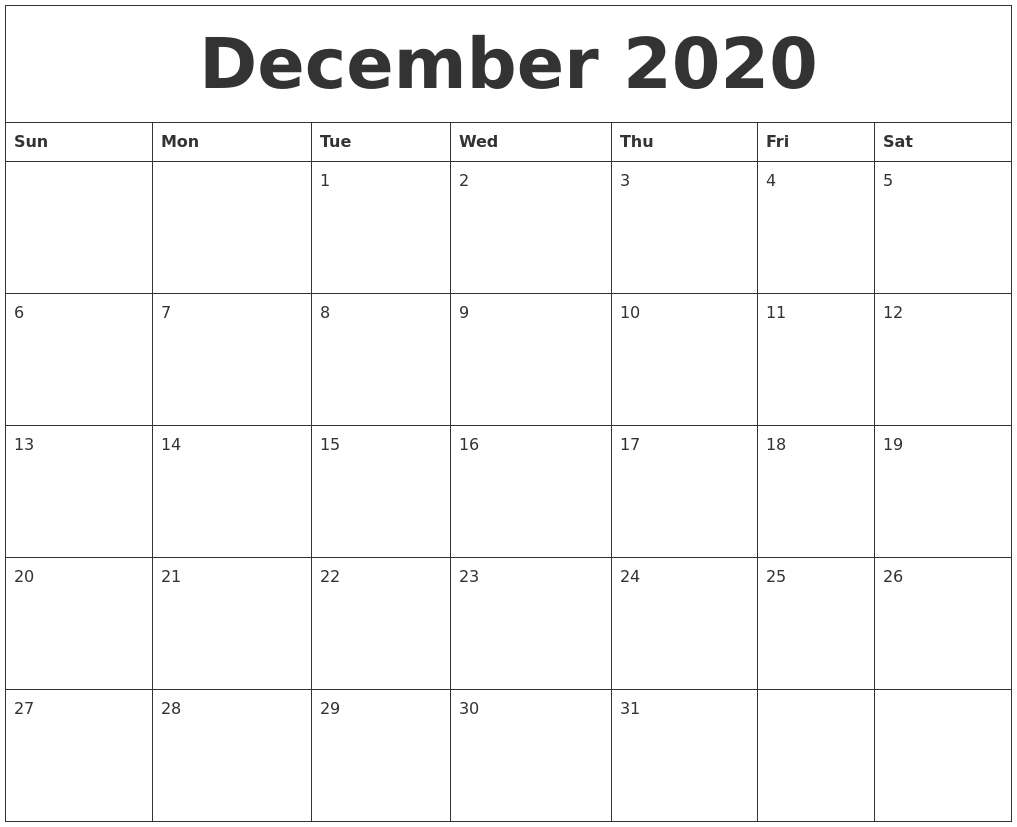 December 2020 Printable Calendar Pages