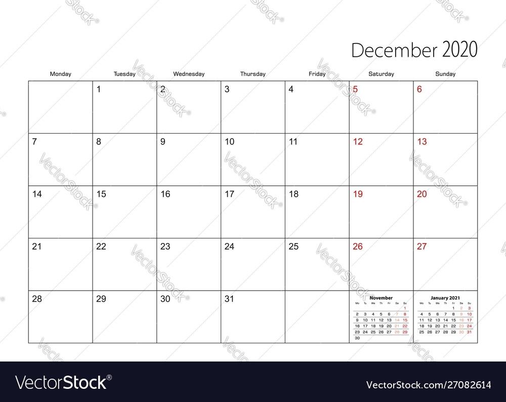 December 2020 Simple Calendar Planner Week Starts