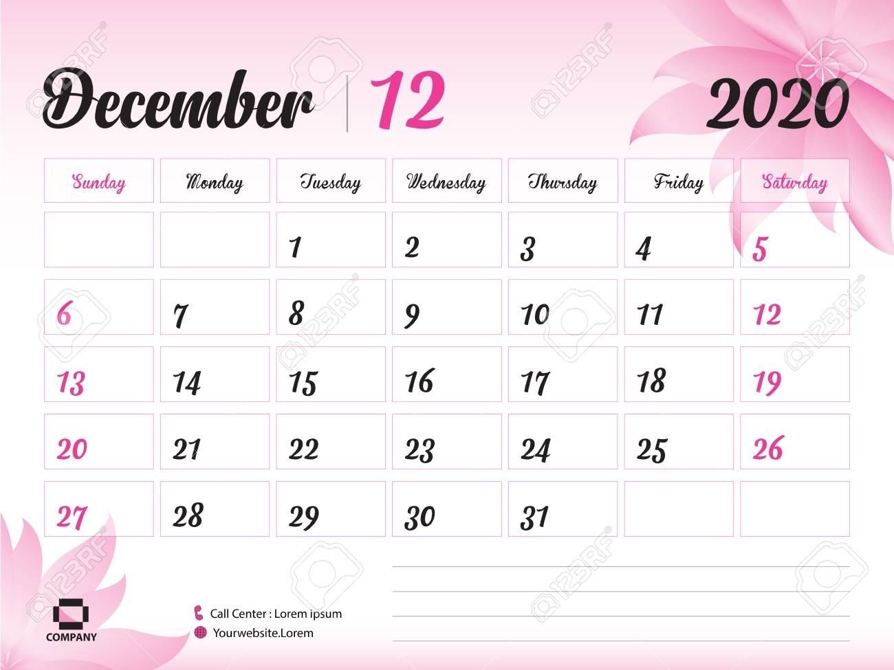 December 2020 Year Template, Calendar 2020, Desk Calendar Design,..