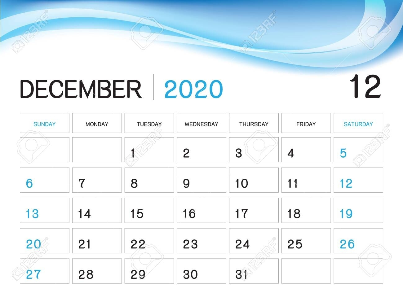 December 2020 Year Template, Calendar 2020 Vector, Desk Calendar..