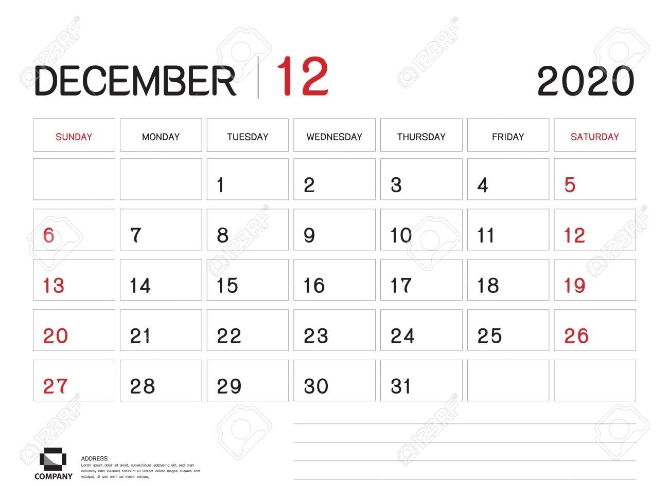 December 2020 Year Template, Calendar 2020 Vector, Desk Calendar..