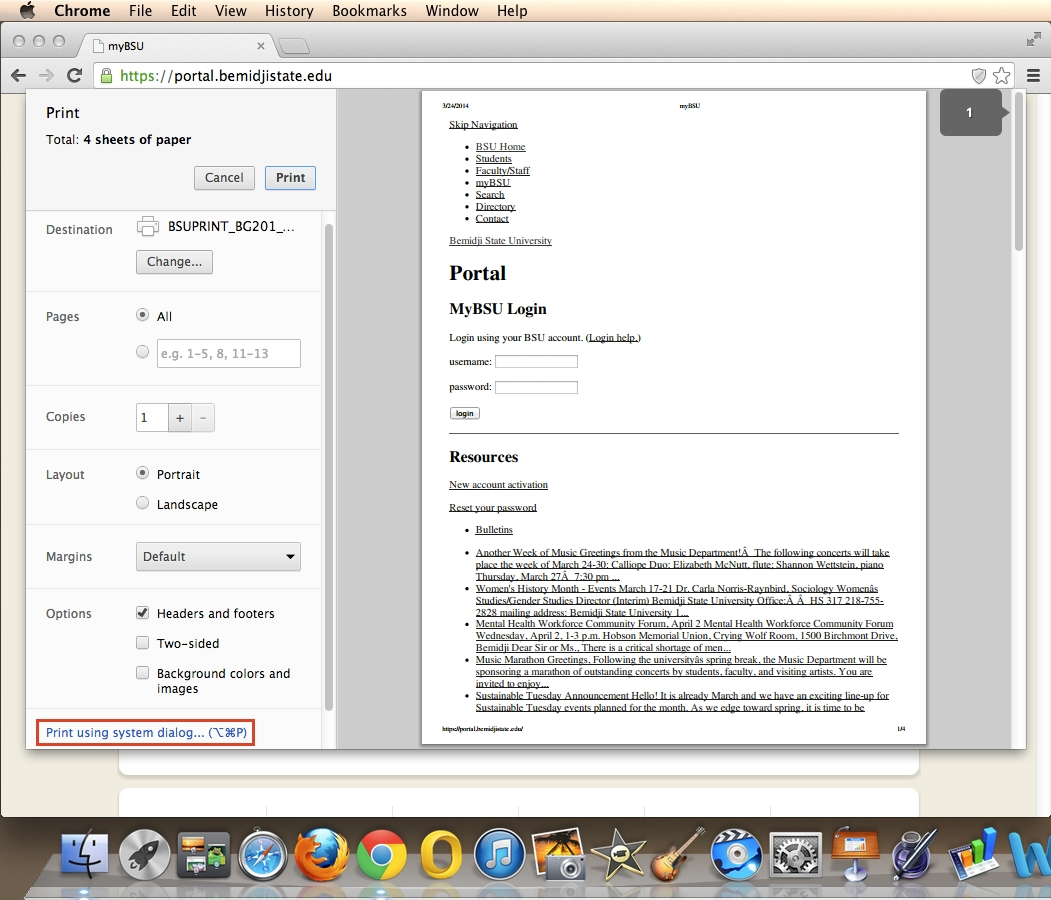 Default Print Settings To Grayscale, Mac Os X: Google Chrome