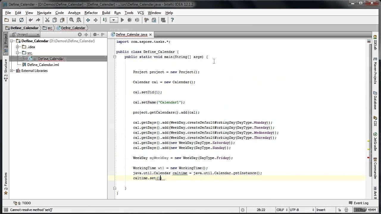 Define Weekdays For Calendar Using Aspose.tasks For Java