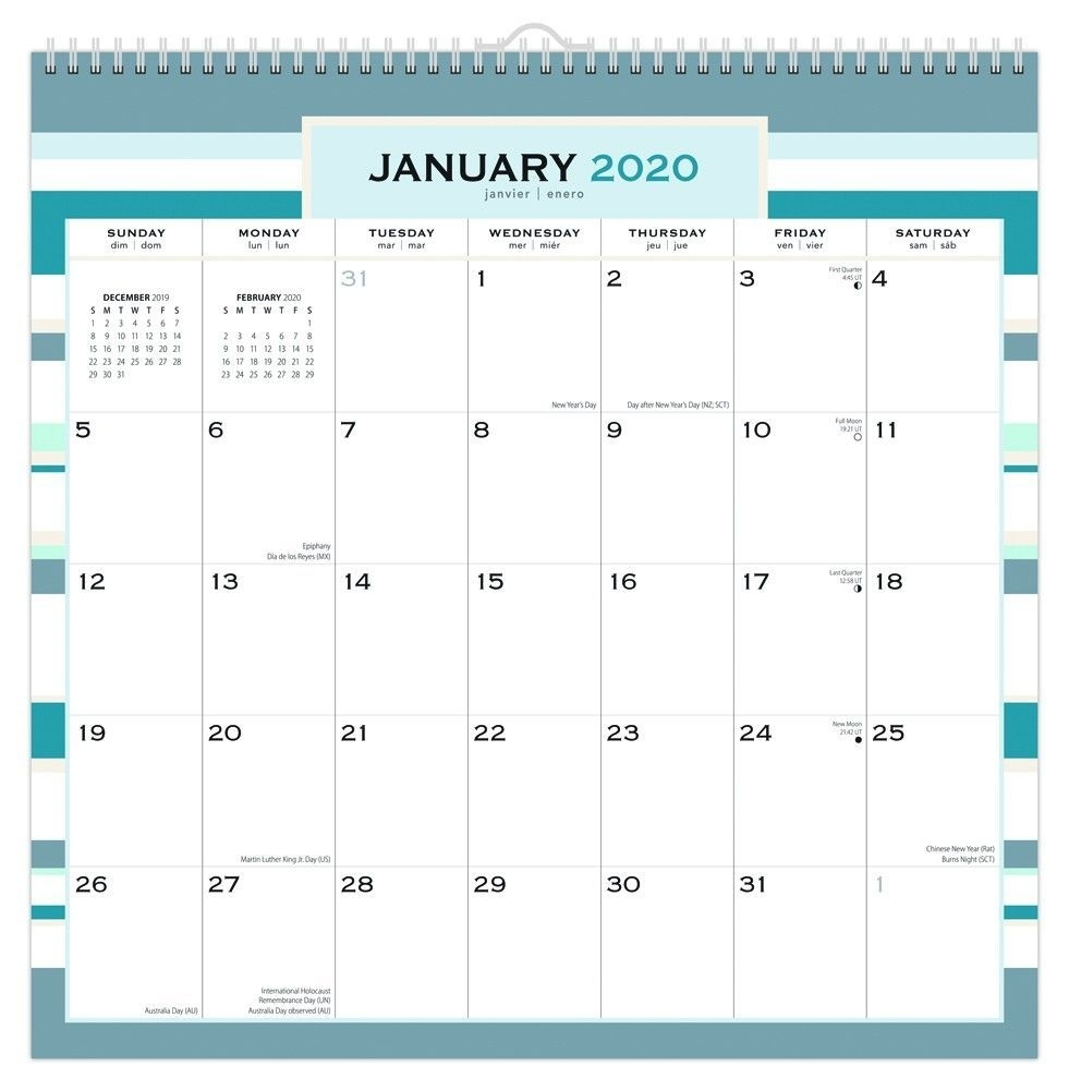 Design B 2020 12 X 12 Inch Monthly Square Wire-O Calendar