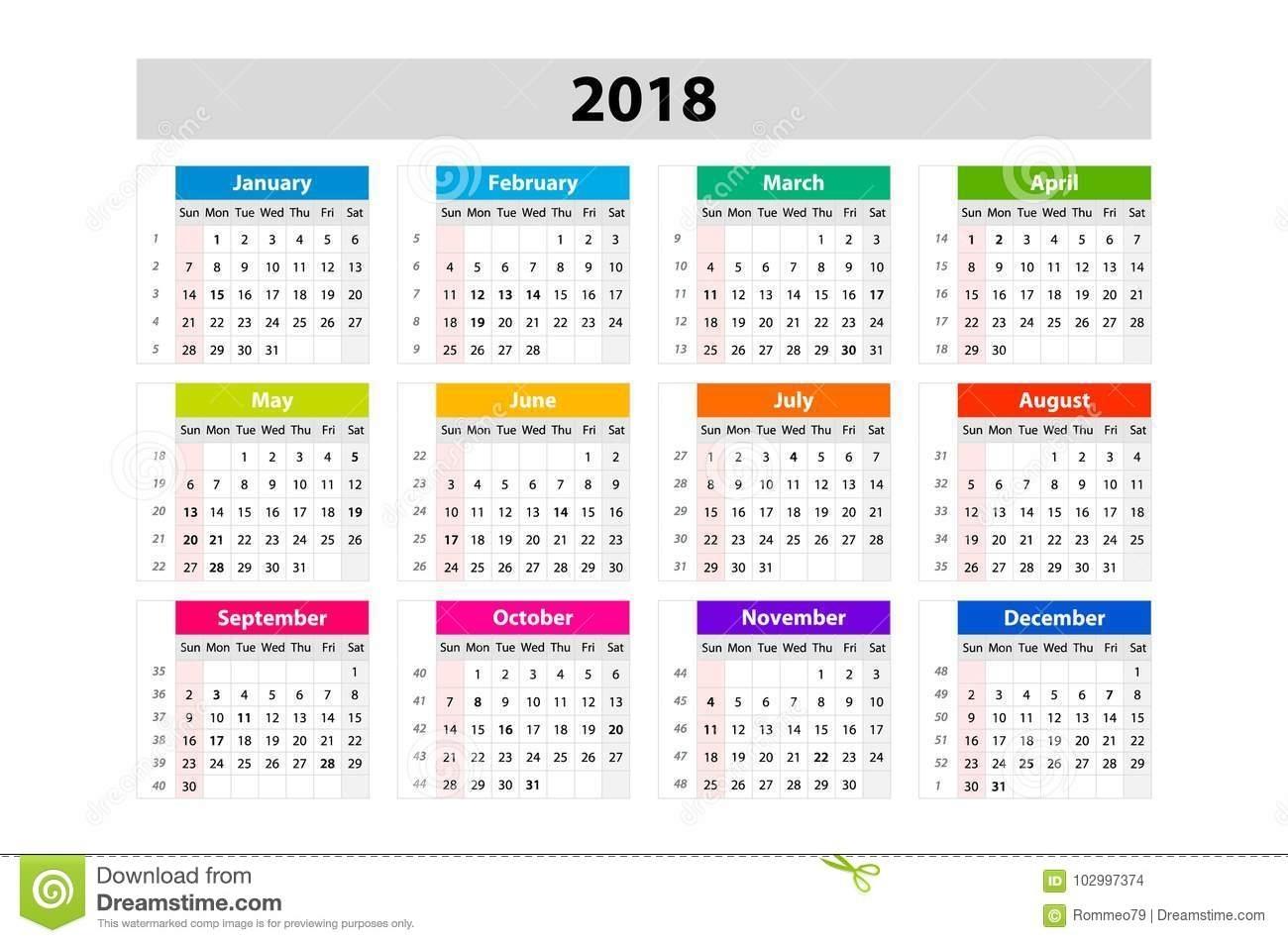 Desk Calendar For 2018 Year. Vector Design Print Template
