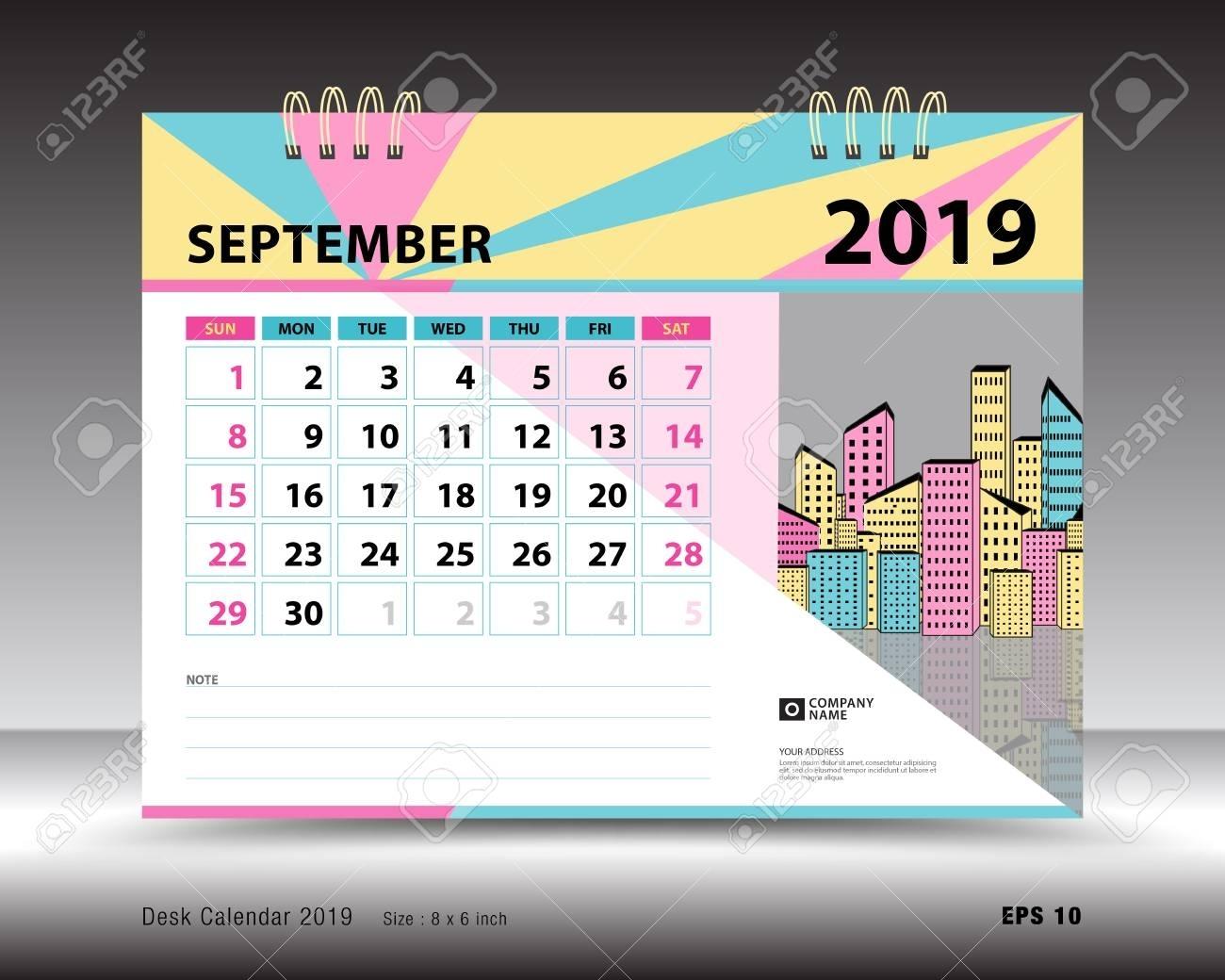 Desk Calendar For September 2019 Template, Printable Calendar,..