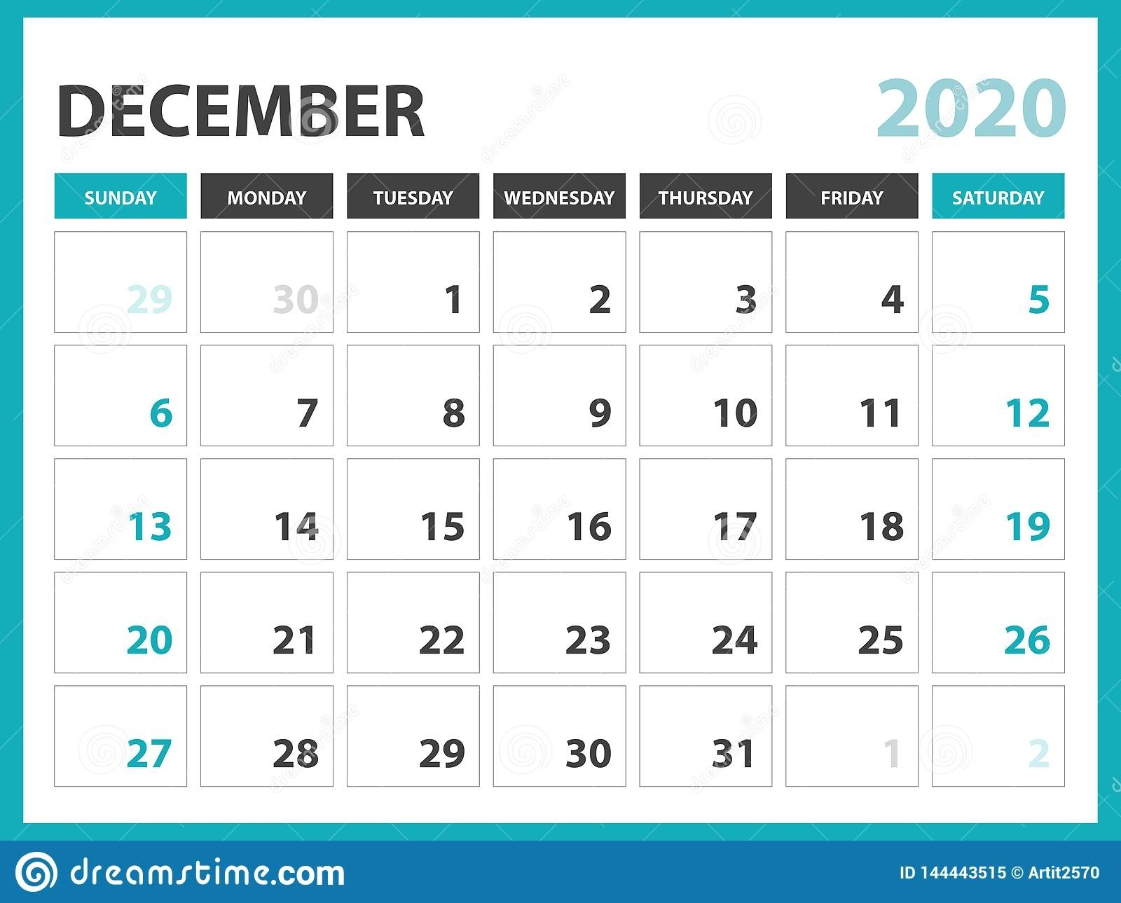 Desk Calendar Layout Size 8 X 6 Inch, December 2020 Calendar
