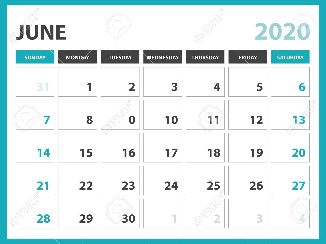Desk Calendar Layout Size 8 X 6 Inch, June 2020 Calendar Template,..