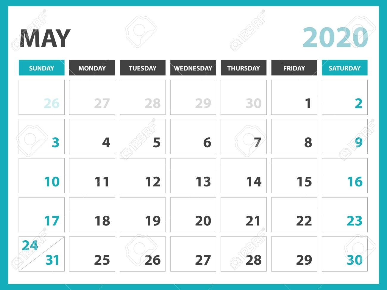 Desk Calendar Layout Size 8 X 6 Inch, May 2020 Calendar Template,..