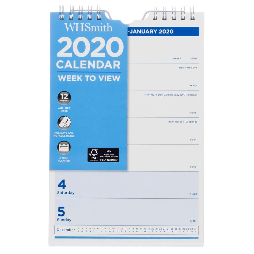 Details About Whsmith 2020 Calendar Week To View Spiral Bound With Holiday  & Notable Dates