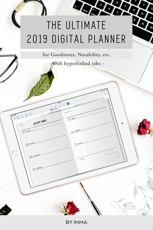 Digital Planner Minimalist, Goodnotes Template, 2019 Planner