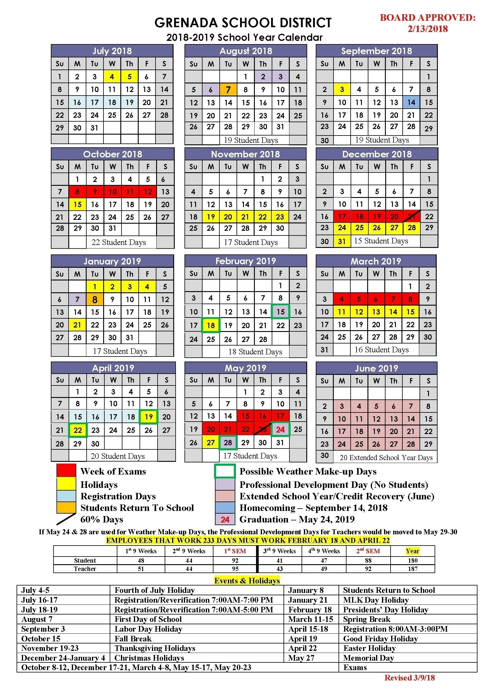 District 7 School Calendar 2020-19 | Calendar Design Ideas