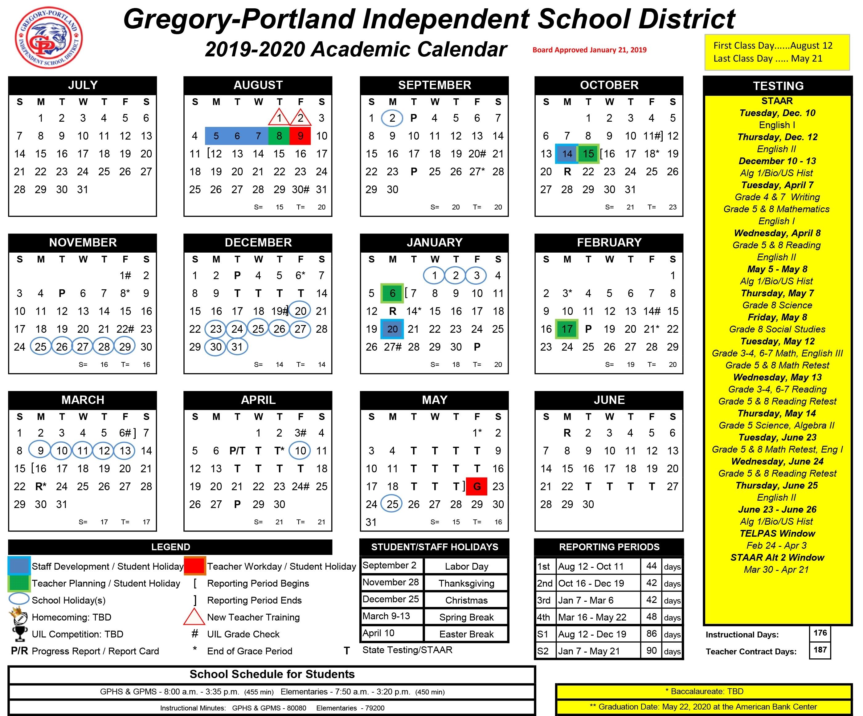 District Calendar, 2019-20 - Gregory-Portland Independent