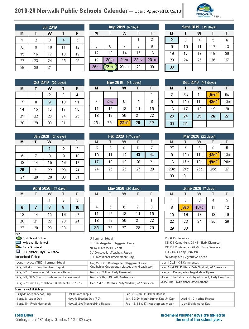 District Calendar - Norwalk Public Schools