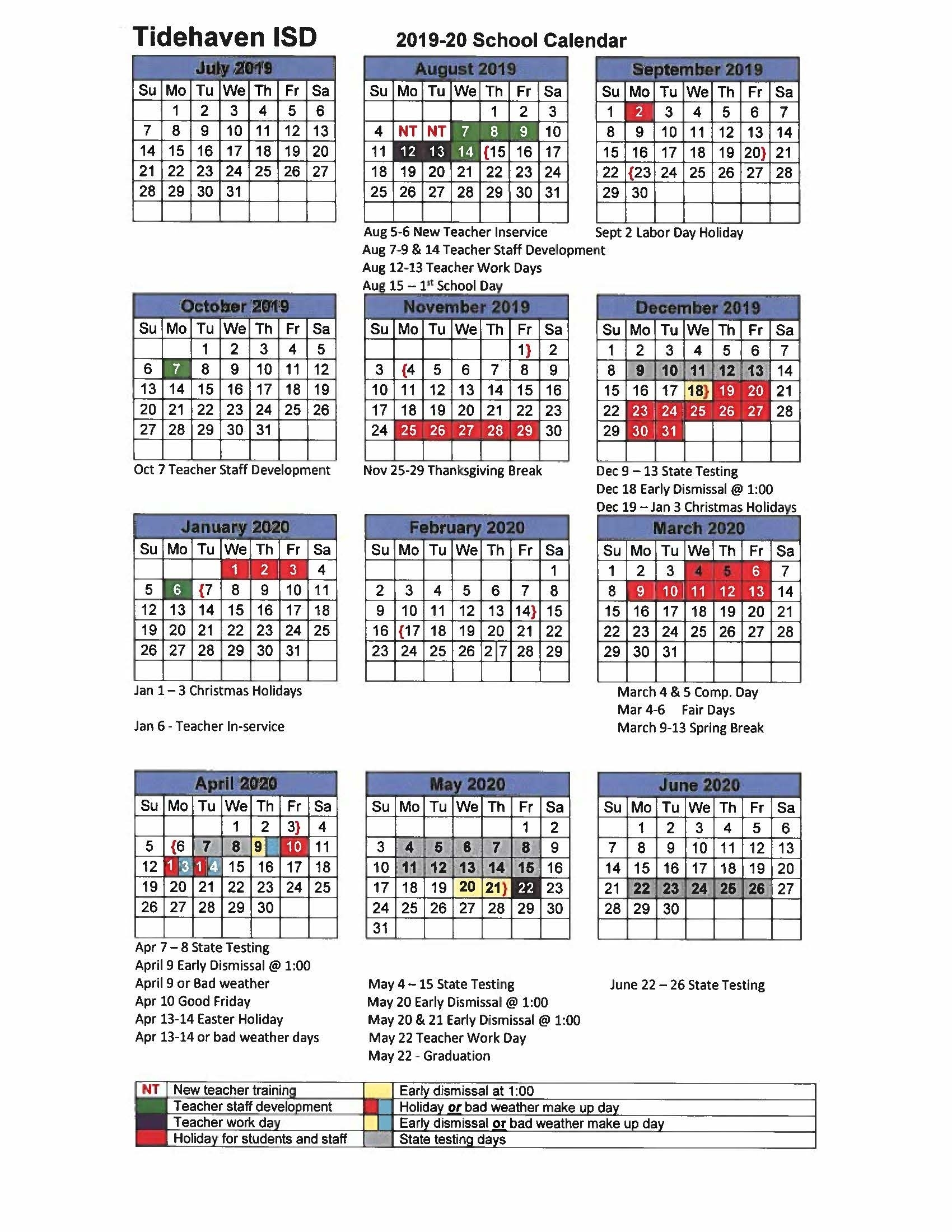 District Calendar - Tidehaven Isd