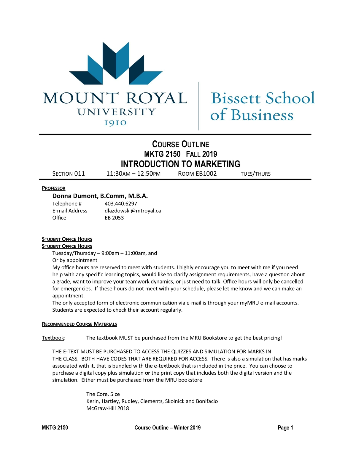 Donna 2150 Winter 2019 Course Outline - Mktg 2150 - Mru