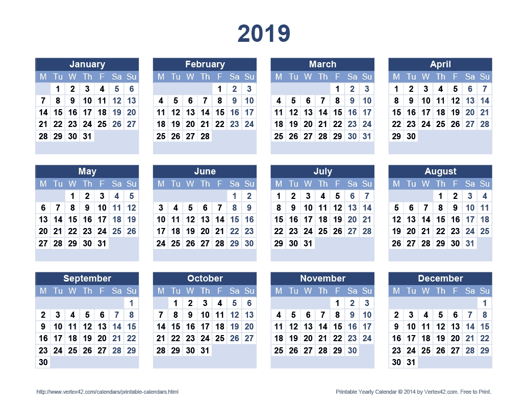 Download A Free Printable 2019 Yearly Calendar From Vertex42