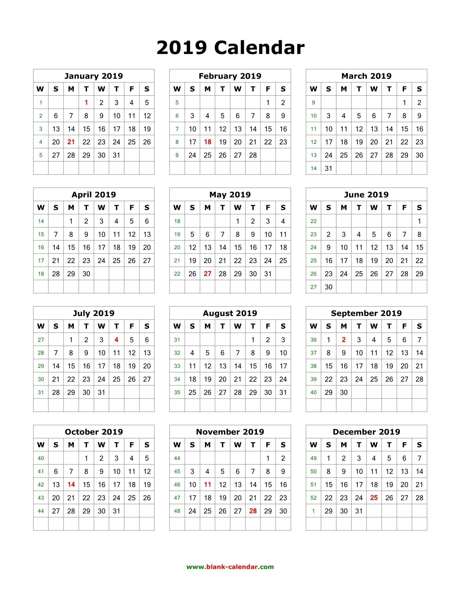 Download Blank 2019 Calendar Templates | Printable Yearly
