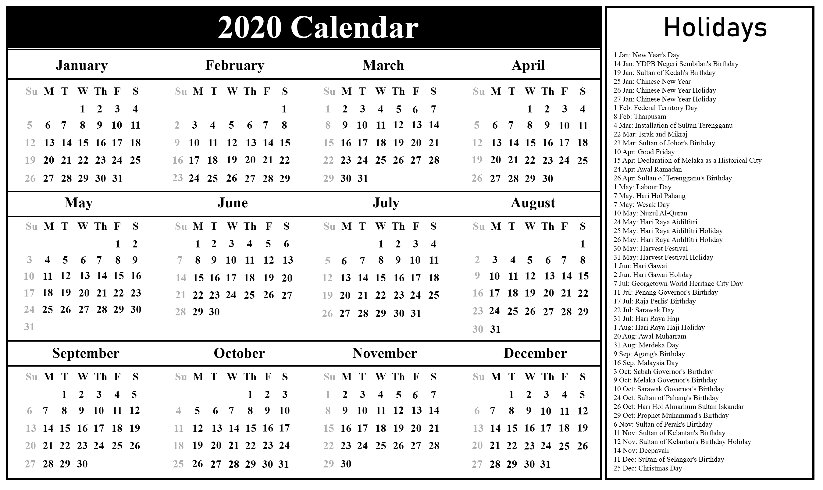 Download Free Printable Malaysia Calendar 2020 In Pdf, Excel
