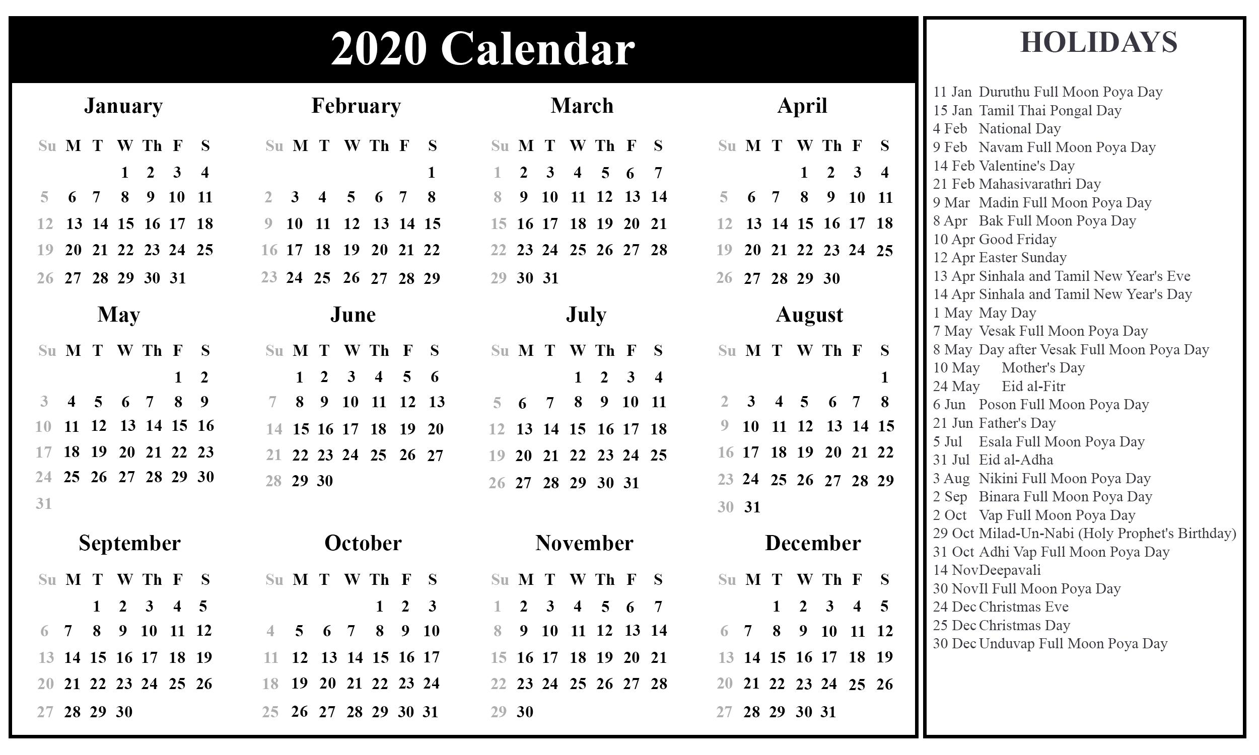 Download Free Sri Lanka Calendar 2020 In Pdf, Excel & Word