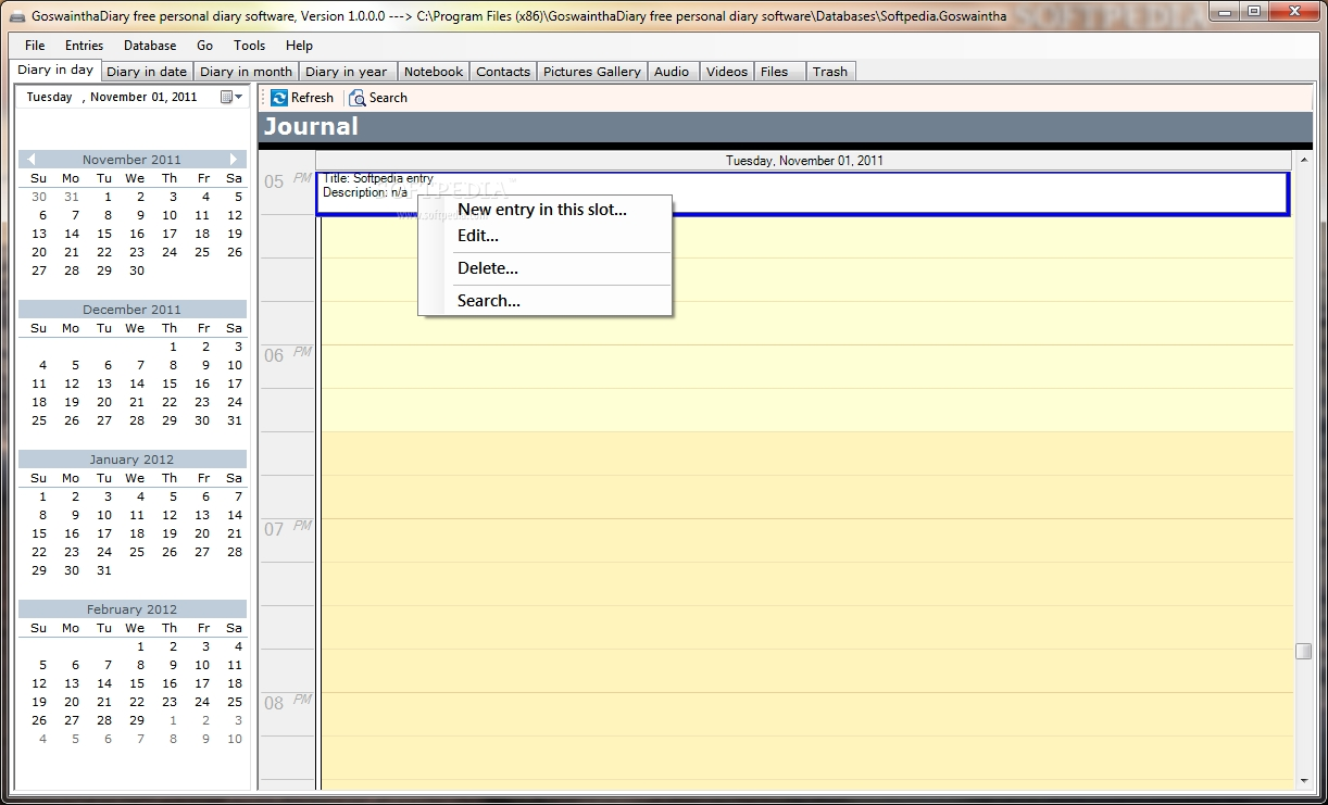 Download Goswainthadiary Free Personal Diary Software