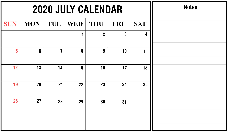 Download July 2020 Calendar Printable Templates {Pdf, Excel