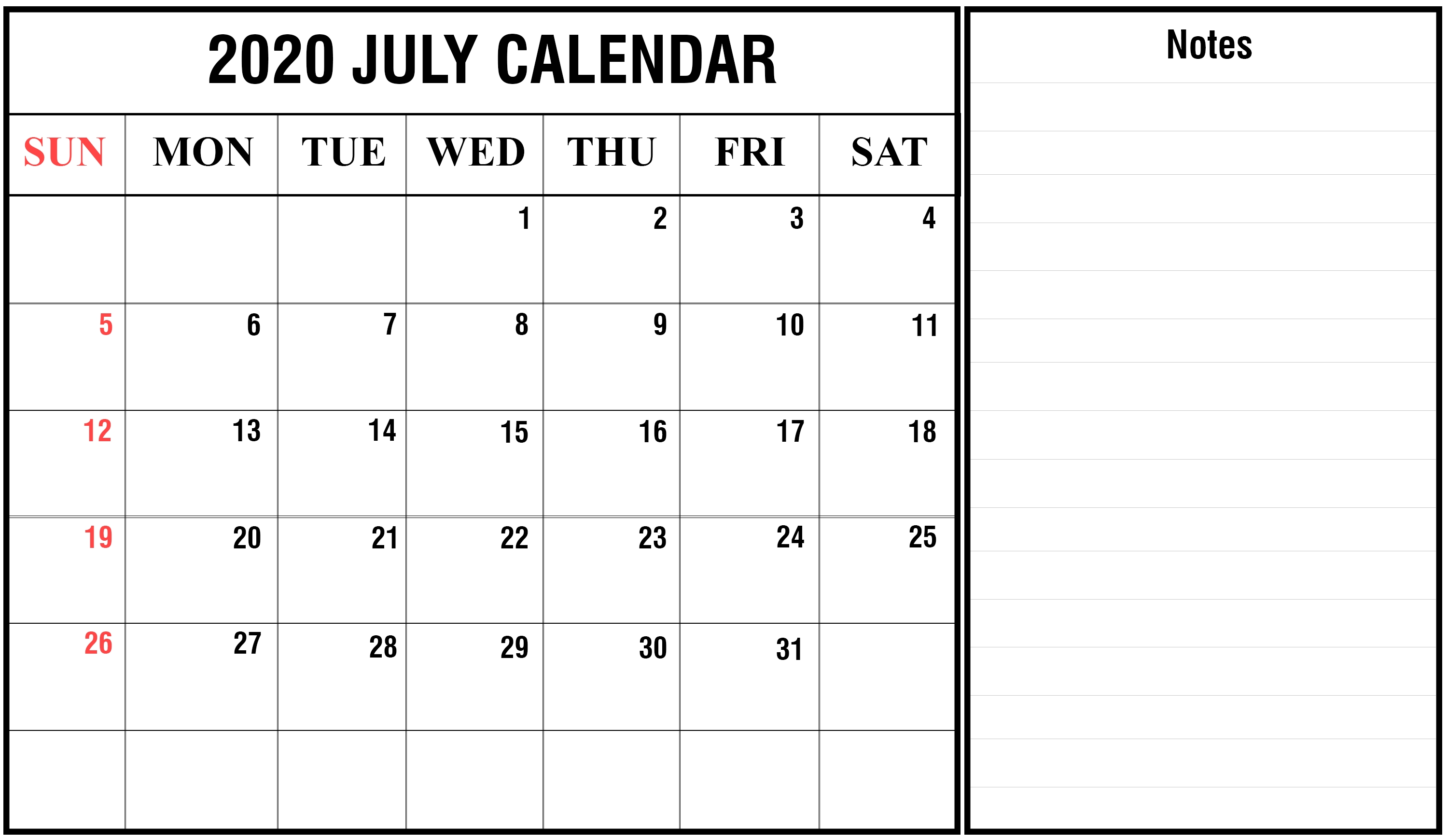 Download July 2020 Calendar Printable Templates {Pdf, Excel