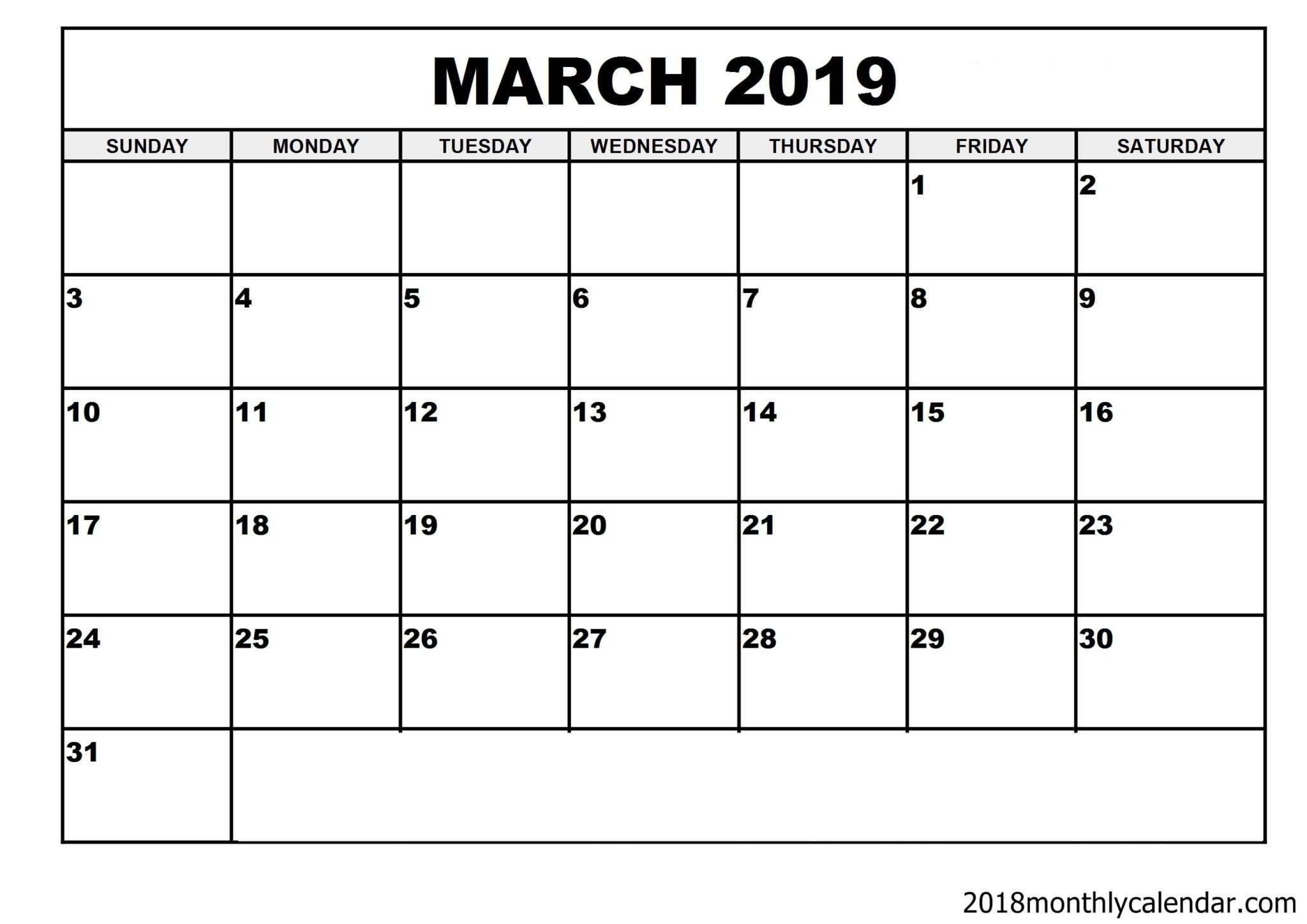 Download March 2019 Calendar – Blank Template - Editable