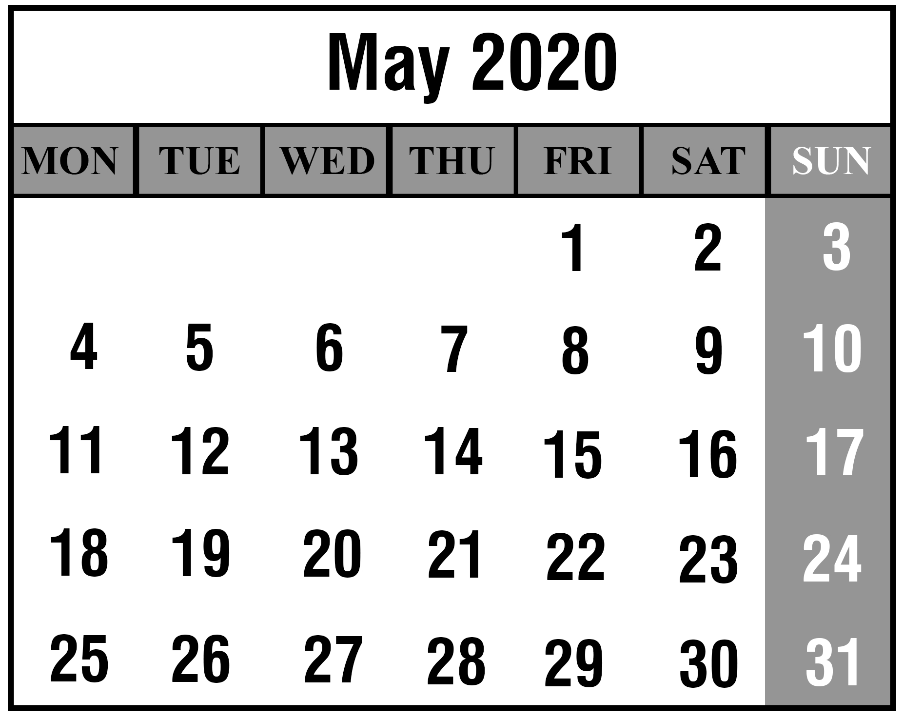 Download May 2020 Calendar Printable Templates {Pdf, Excel