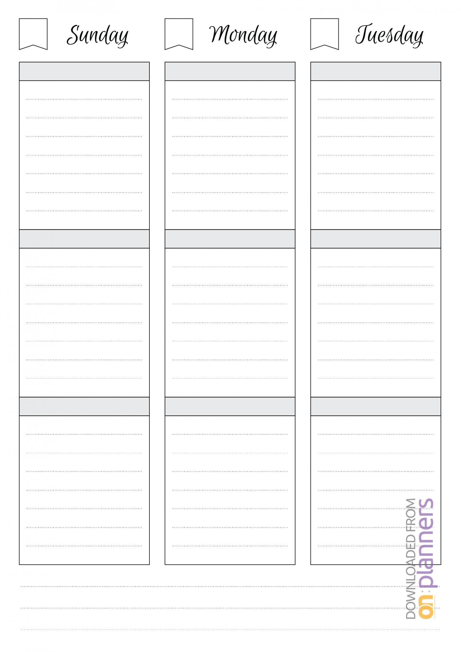 Download Printable Undated Weekly Schedule Pdf
