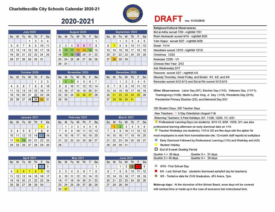 Draft Calendar For 2020-21 | Charlottesville City Schools
