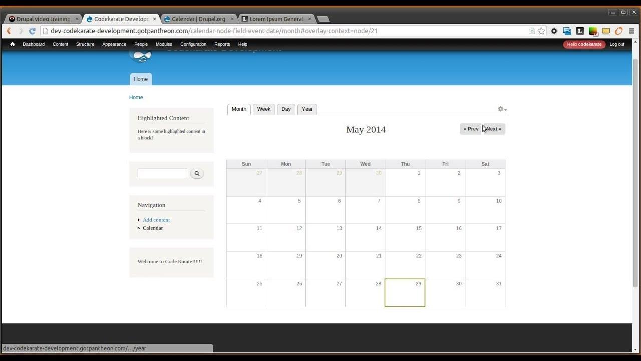 Drupal 7 Calendar Module   Code Karate