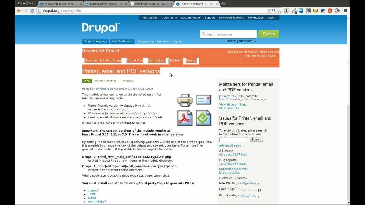 Drupal 7 Printer, Email, And Pdf Versions Module - Daily Dose Of Drupal  Episode 69