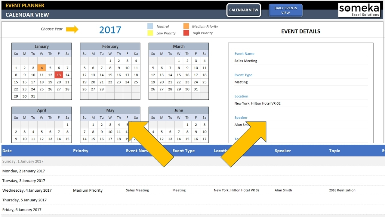 Dynamic Event Calendar | Calender In Excel Template