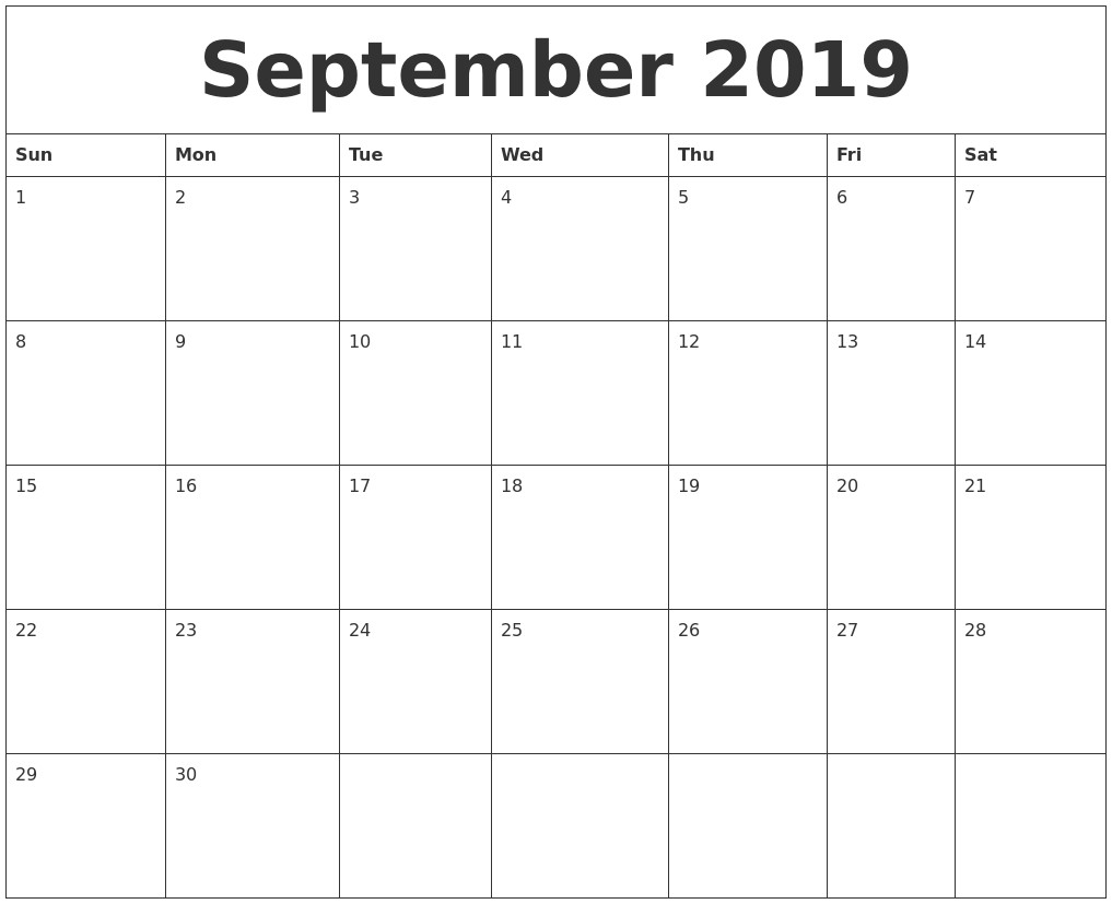 ✅ Free Printable September 2019 Calendar Page Pdf Word