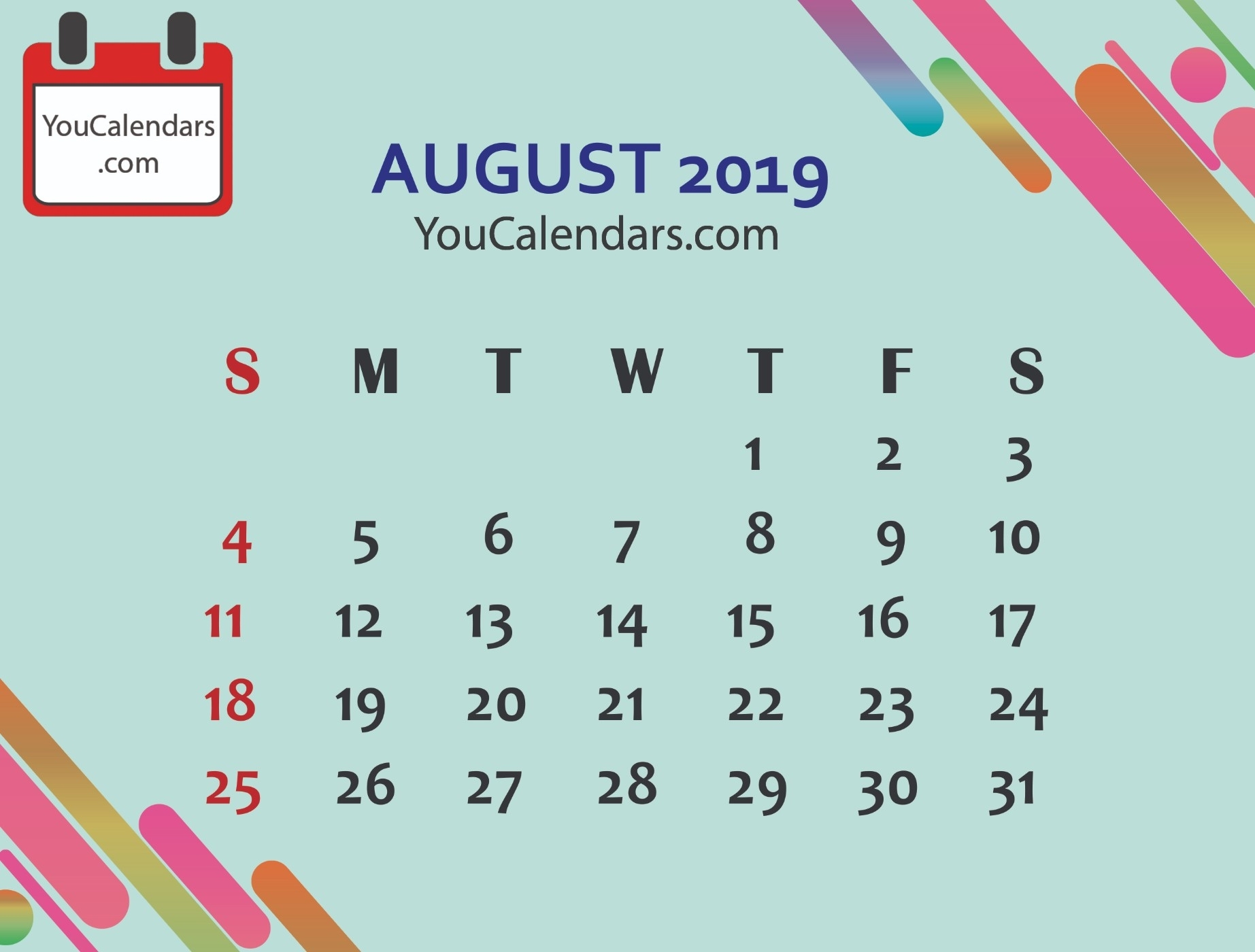 ✅Free August 2019 Calendar Printable Template - You Calendars