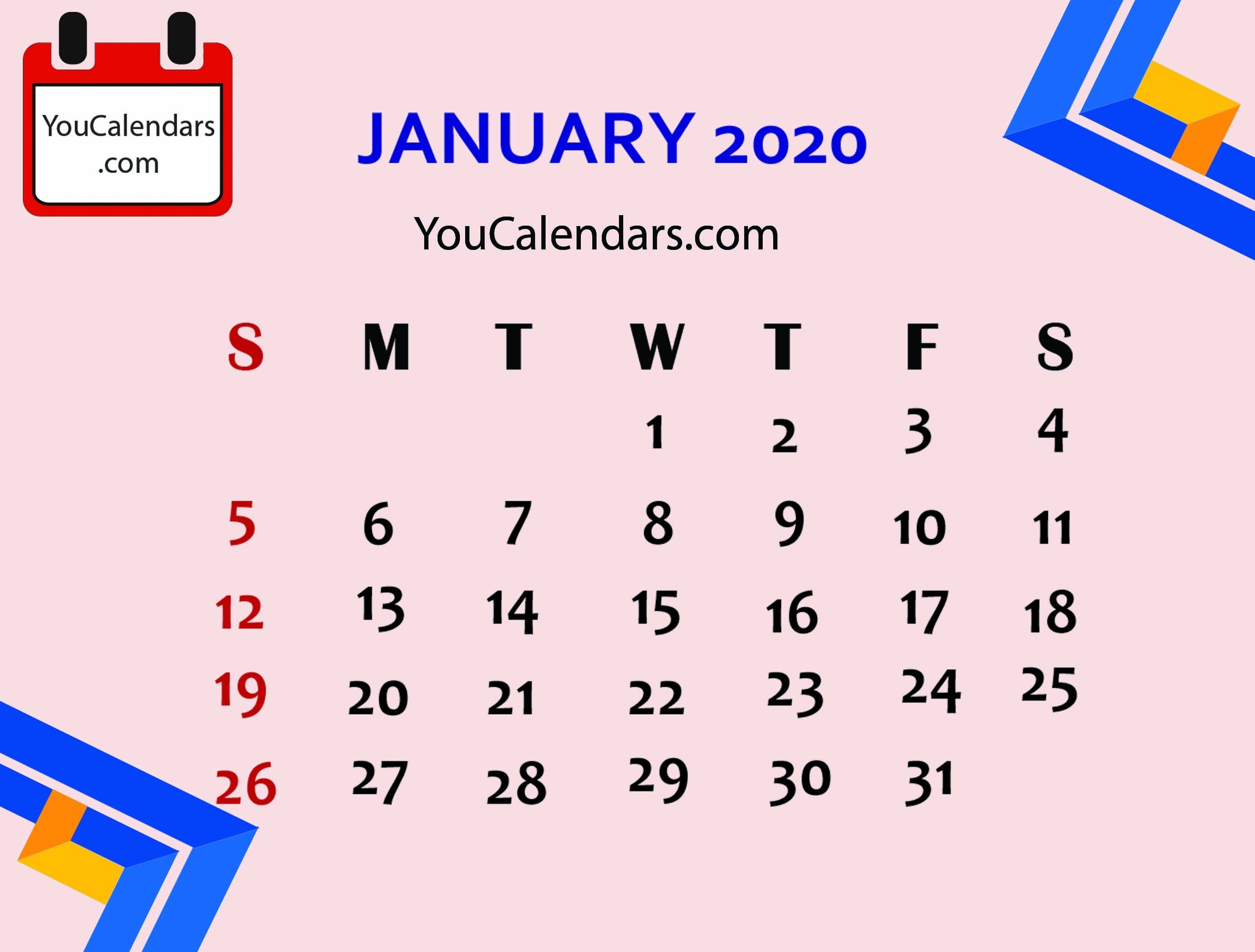 ✅Free January 2020 Calendar Printable Template - You Calendars