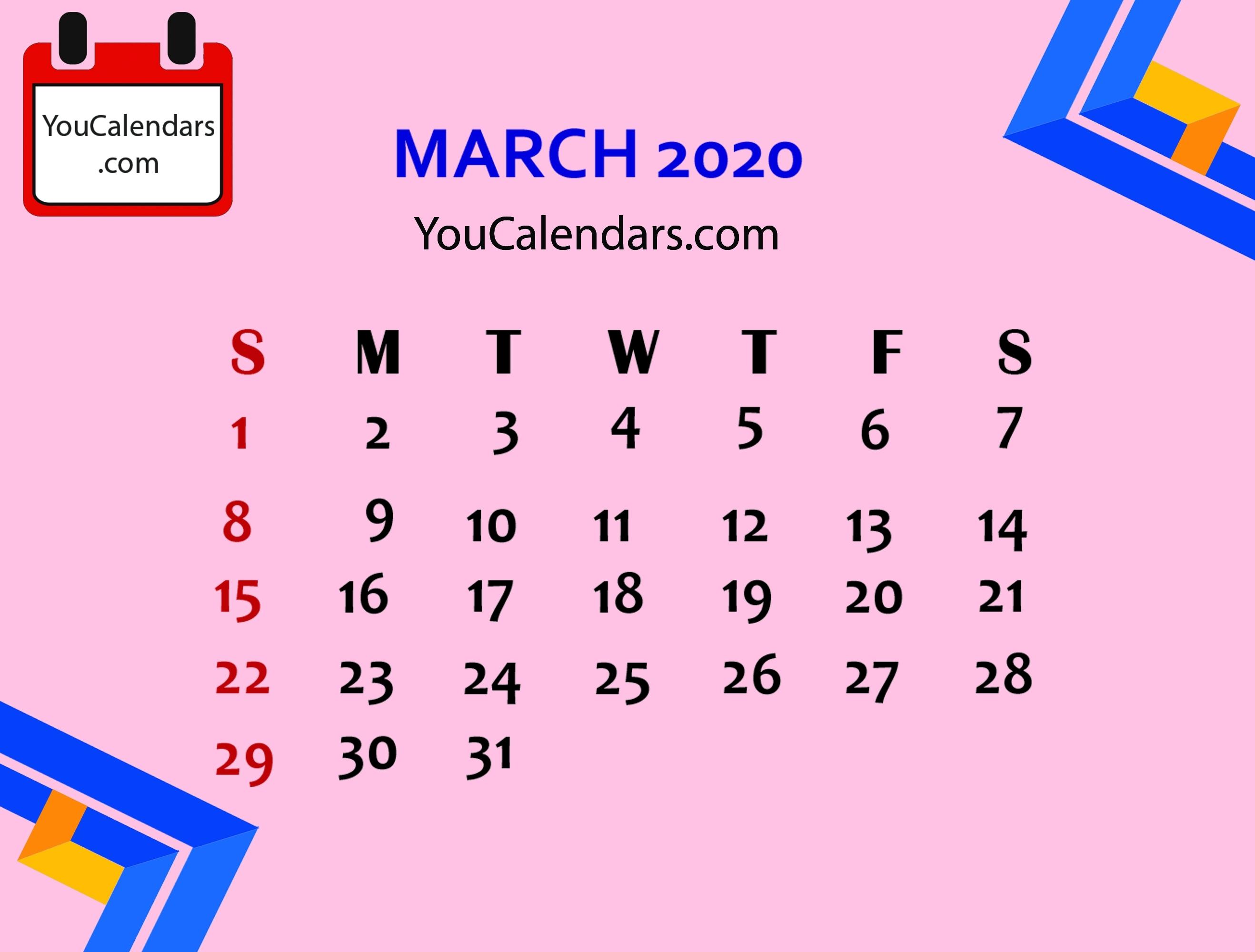 ✅Free March 2020 Calendar Printable Template - You Calendars