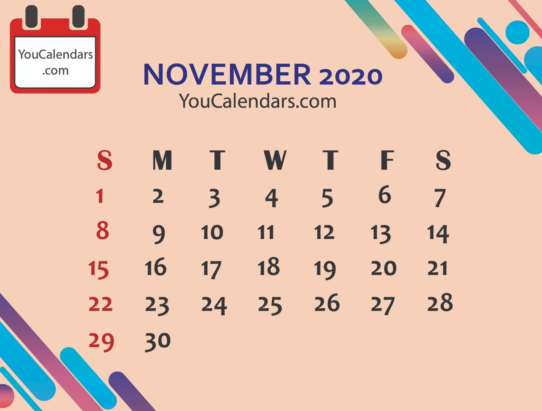 ✅Free November 2019 Calendar Printable Template - You Calendars