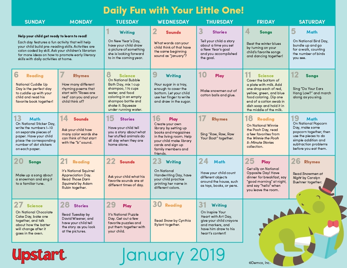 Early Literacy Activities Calendar January 2019: Crafts
