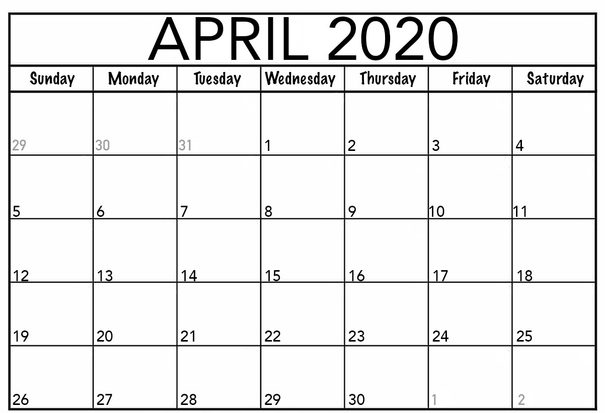 Editable April 2020 Calendar Printable Template With Holidays