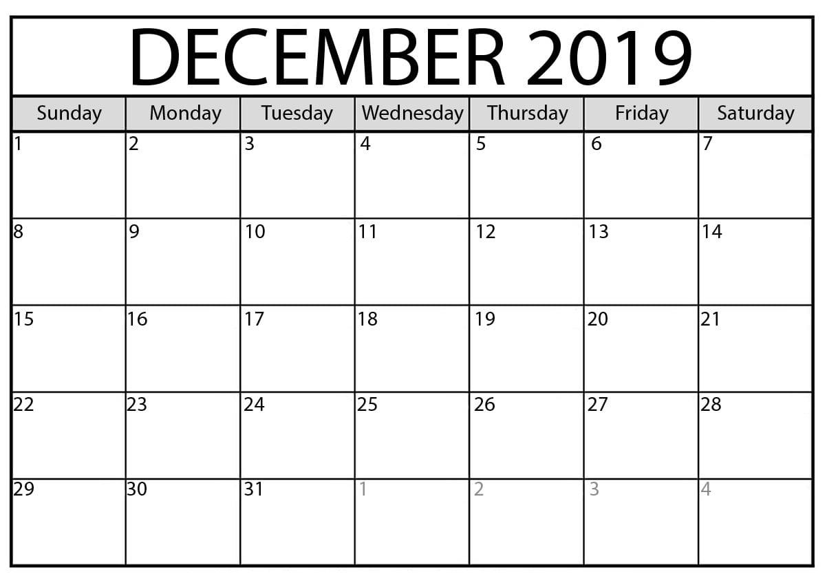 Editable December 2019 Calendar Printable Template With Holidays