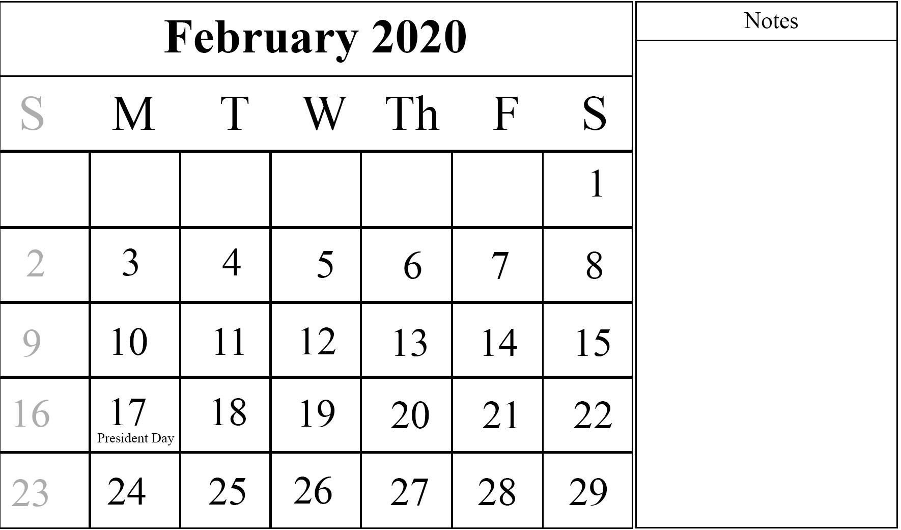 Editable February 2020 Calendar Printable Blank Template